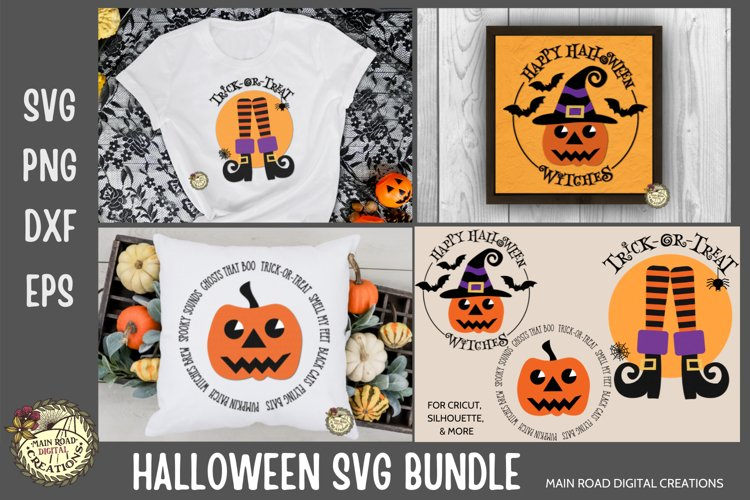 Halloween designs-witch legs with stripped socks, retro style pumpkin with a witch hat, jack-o-lantern design