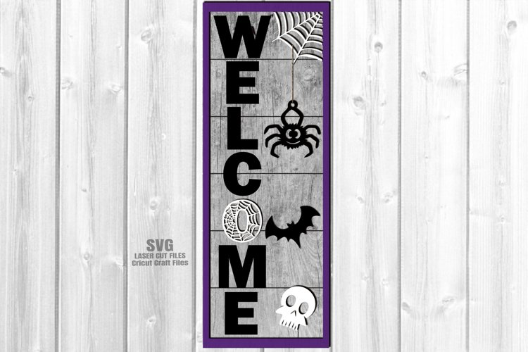Halloween Party Welcome Vertical Sign SVG Glowforge Files example image 1
