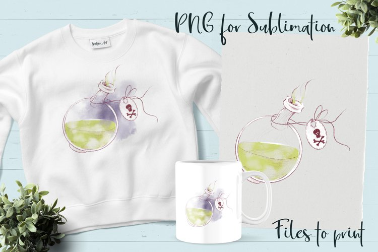 Halloween Witchs potion sublimation. Design for printing.
