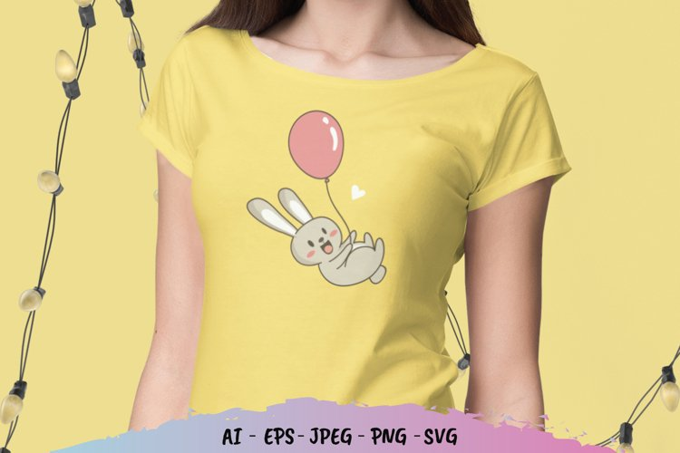Little Bunny and Balloon SVG