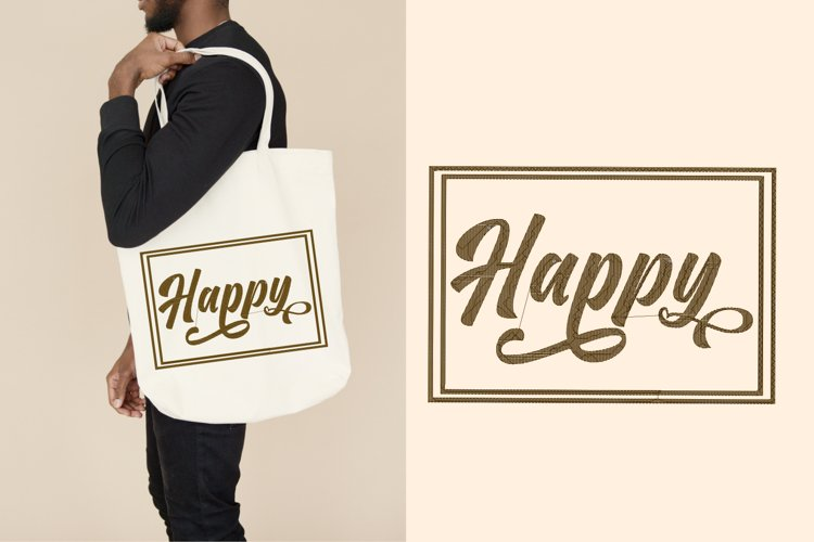 Happy lettering embroidery example image 1