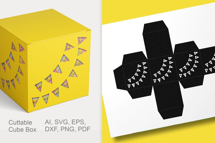 Happy Birthday Cuttable Cube Favor Box SVG