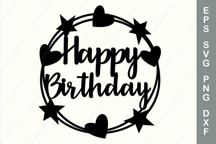 Birthday cake topper template, Happy birthday topper svg