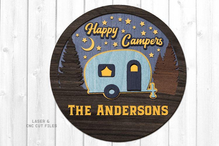 Monogram Happy Campers Sign SVG Glowforge Laser Cut Files