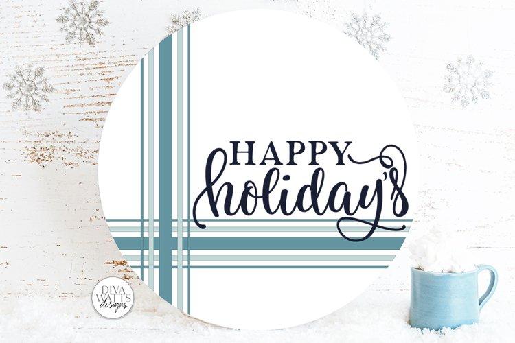 Happy Holidays Plaid SVG | Farmhouse Christmas Round Design example image 1