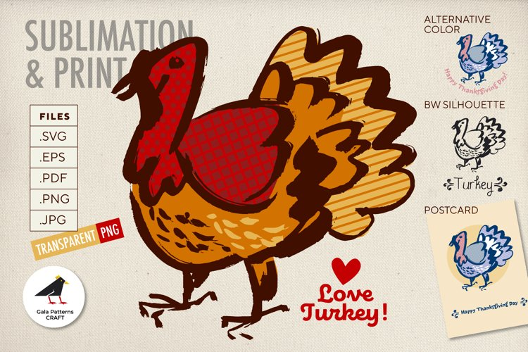 Happy Thanksgiving Turkey SVG for Sublimation, print - SVG