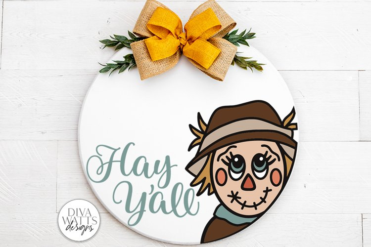 Hay Y'all Scarecrow SVG | Fall Round Sign Design example image 1