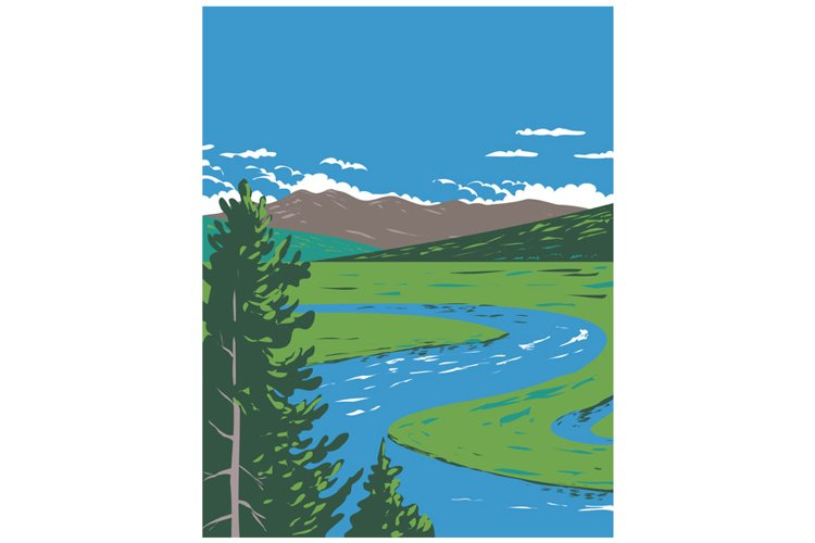 Hayden Valley Straddling the Yellowstone River WPA Poster