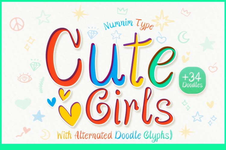 Cute Girls - Child font with doodle glyphs example image 1