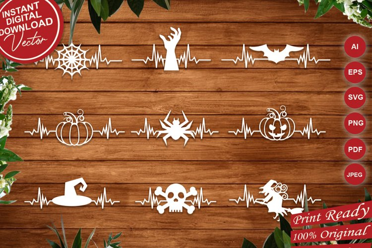 Halloween Heartbeat Elements, Heart Beating Halloween Decor