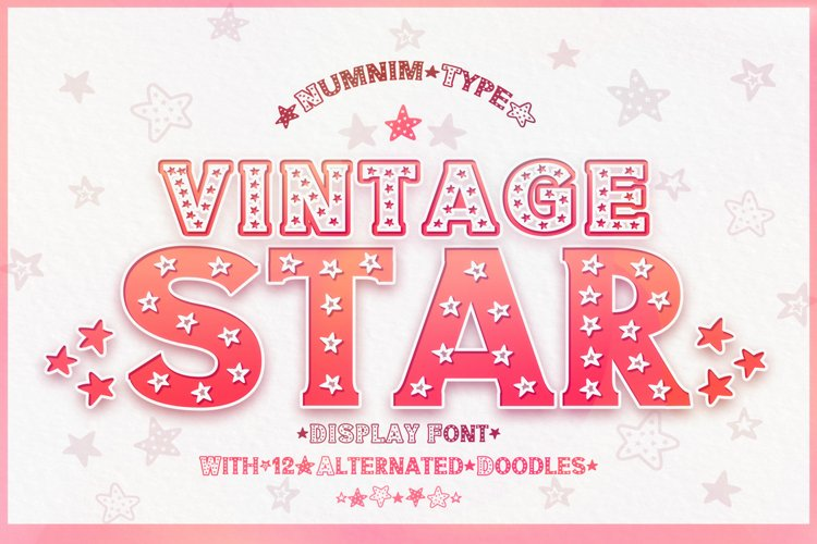 Vintage Star - Classic Display font with doodle glyphs example image 1
