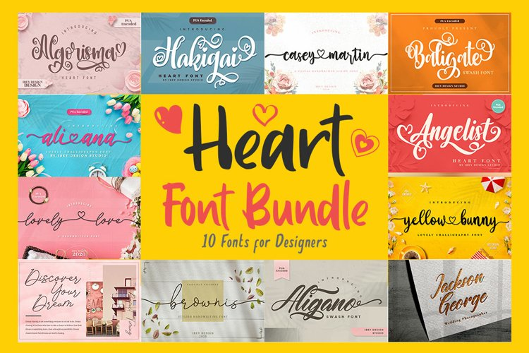 Heart Font Bundle example image 1