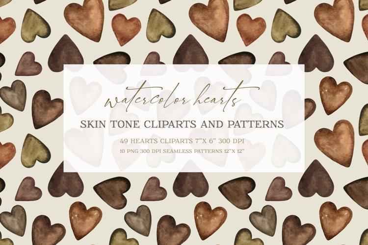 Watercolor heart cliparts & patterns