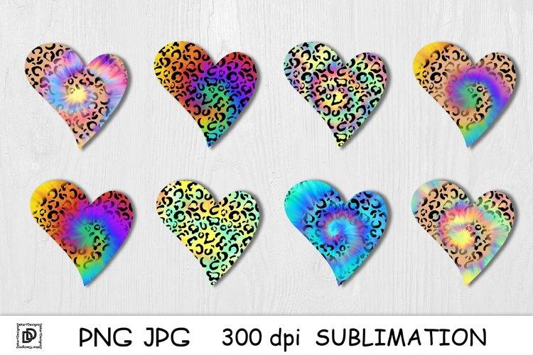 Heart Sublimation Bundle Tie Dye PNG Leopard Rainbow Tie Dye