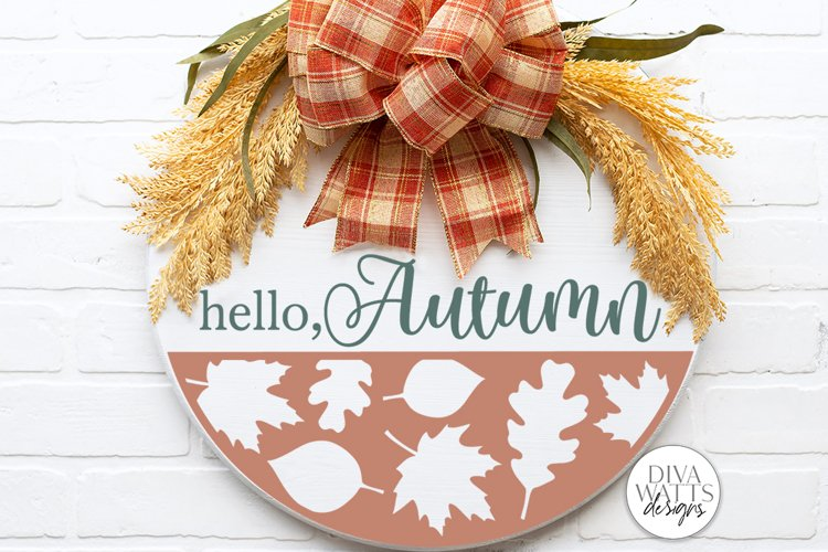 Hello Autumn SVG | Fall Round Sign Design example image 1