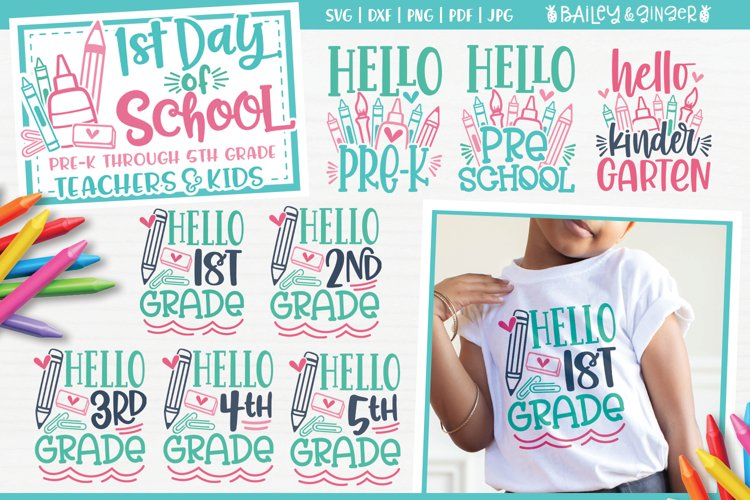 First Day of School SVG Bundle   Hello Back to School SVG