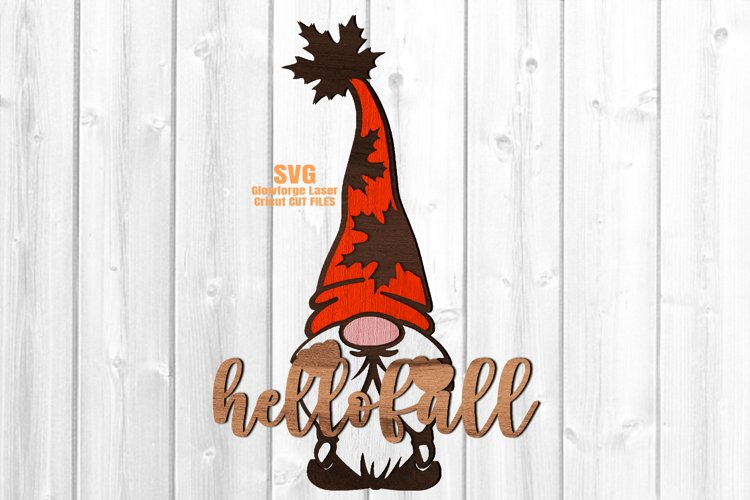 Hello Fall Garden Gnome Welcome Sign SVG Glowforge Files example image 1
