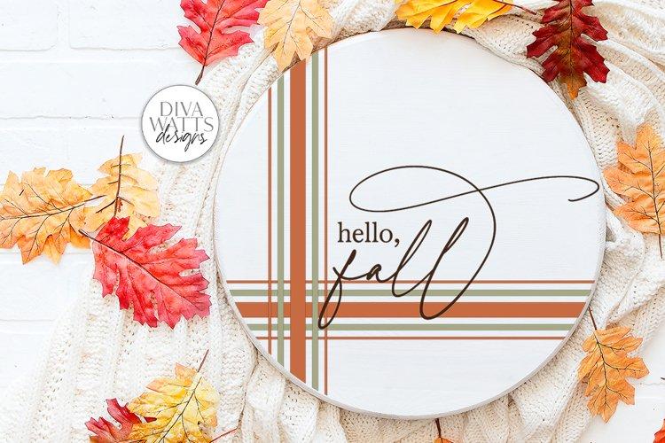 Hello Fall Plaid SVG   Farmhouse Autumn Design example image 1