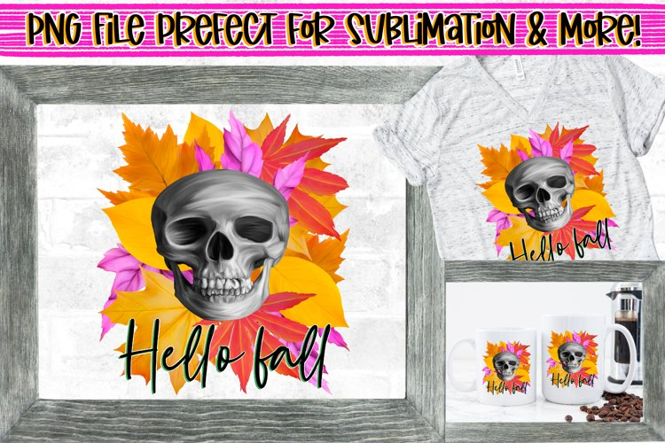 Hello Fall,Skull & Autumn Leaves PNG File Design|Sublimation example image 1