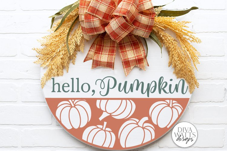 Hello Pumpkin SVG   Fall Round Sign Design example image 1