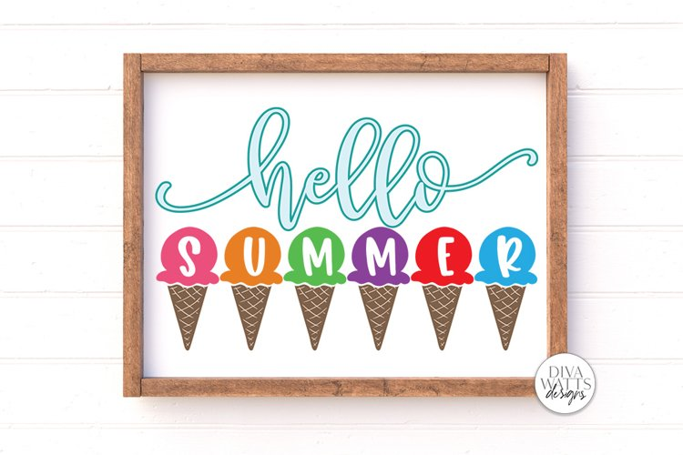 Hello Summer SVG | Ice Cream Cones SVG | Summer Sign | DXF a example image 1