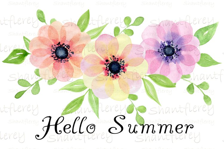 Hello Summer Sublimation, Watercolor Flowers Sublimation