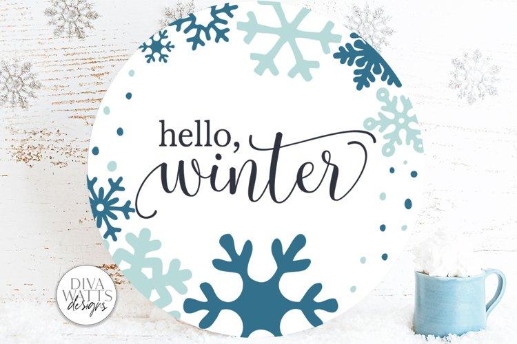 Hello Winter SVG   Snowflakes Christmas Round Design example image 1