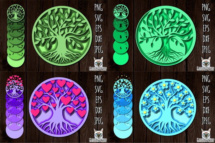 3D Layered Tree of Life SVG bundle, Multilayered cut file.