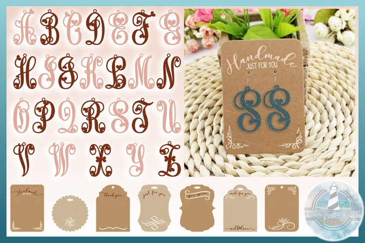 Monogram Initials Hearts Earring Bundle Faux Leather Jewelry example image 1