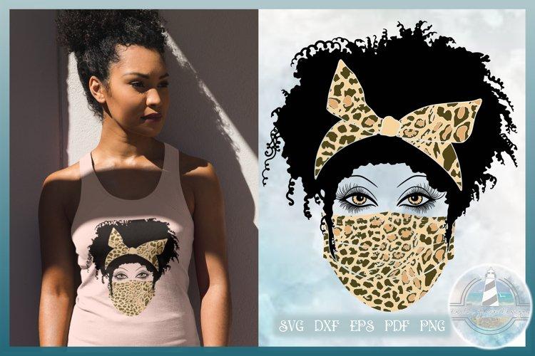 Leopard Print Bow and Mask Messy Bun SVG - Black Woman SVG