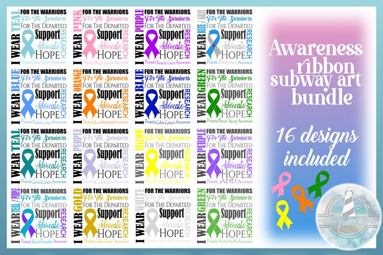 Awareness Ribbon Quote Volume 1 Bundle SVG Cancer Awareness
