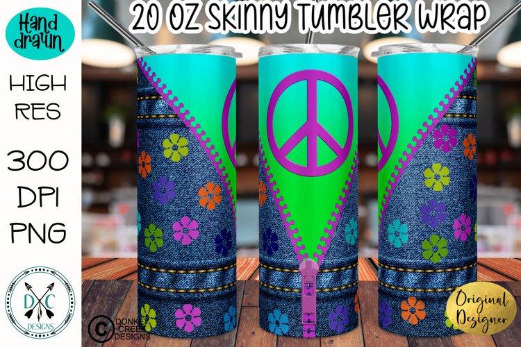Peace sign denim flower power sublimation 70s tumbler wrap!