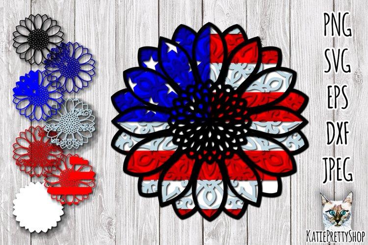 3D Layered USA Sunflower SVG, layered 4th of July cut file.