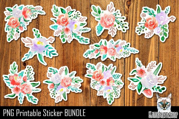 Flowers Printable Stickers. Floral Design Sticker Bundle.