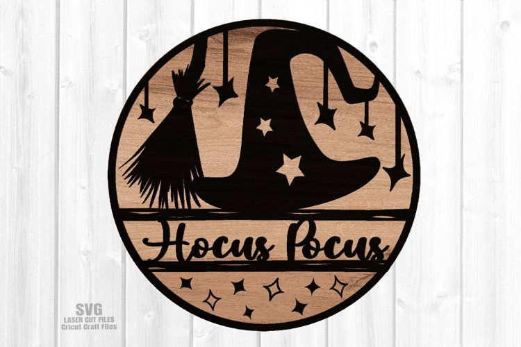 Hocus Pocus Round Sign SVG Glowforge Halloween Laser Files example image 1
