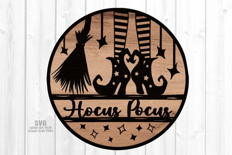 Hocus Pocus Witch Sign SVG Glowforge Halloween Laser Files example image 1
