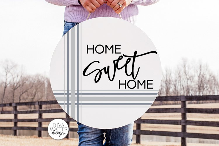 Home Sweet Home SVG   Round Farmhouse Plaid Design example image 1