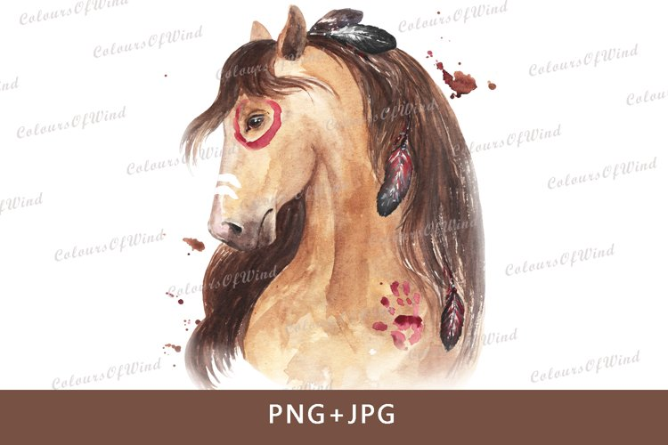 Watercolor War Horse Of The Indians Sublimation Designs PNG