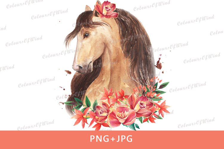 Watercolor horse head with flowers sublimation download PNG