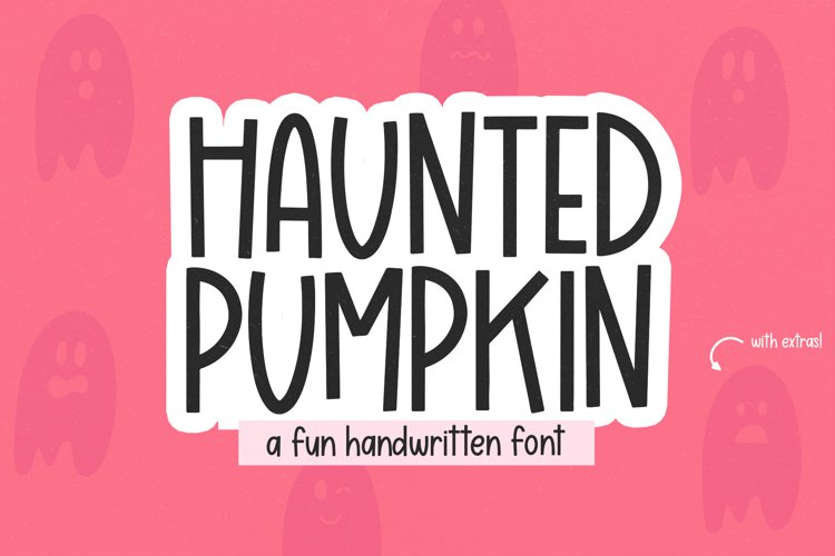 Haunted Pumpkin - A Fun Handwritten Font with Ghost Doodles example image 1