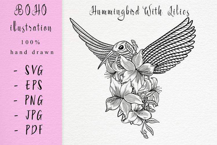 Boho illustration / hummingbird with lilies