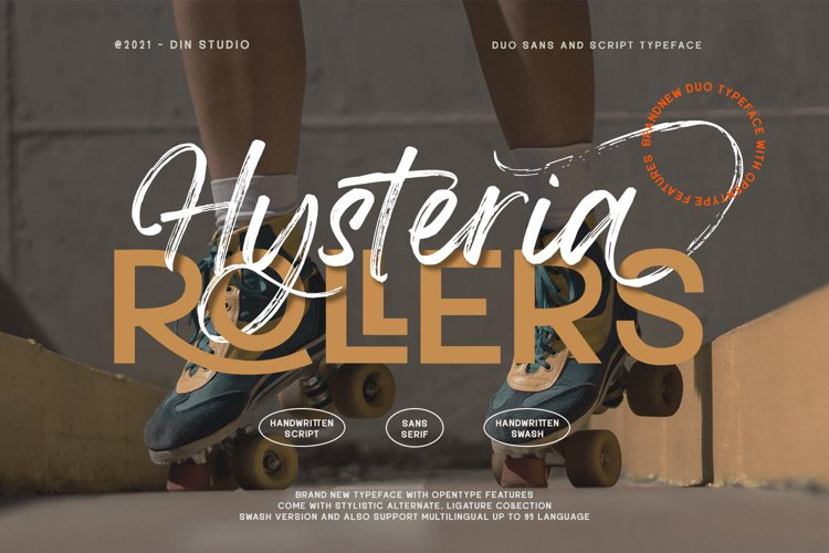 Hysteria Rollers-Sans Script Font Duo example image 1