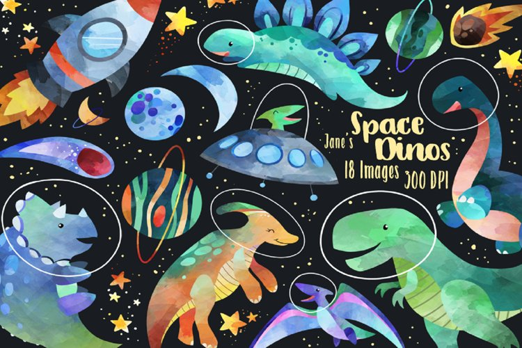 Watercolor Space Dinosaurs Clipart example image 1