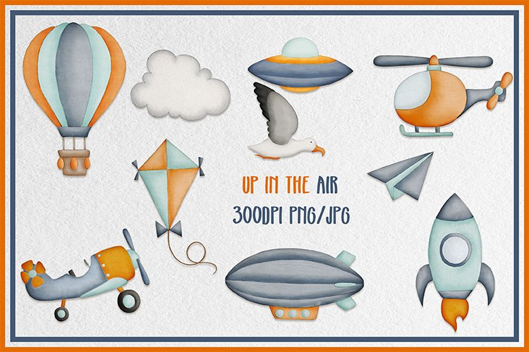 Cute things that fly handdrawn clipart baby nursery