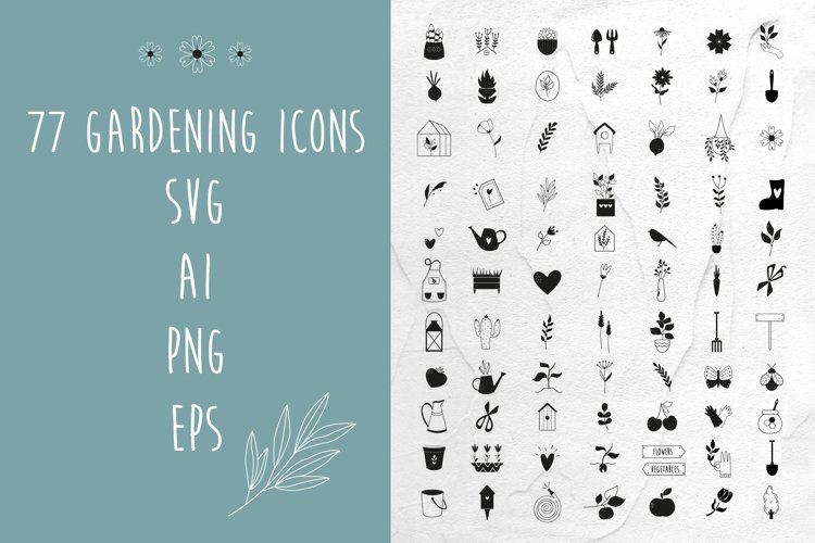 77 Gardening Icons. Simple Style Illustrations. SVG, PNG, Ai