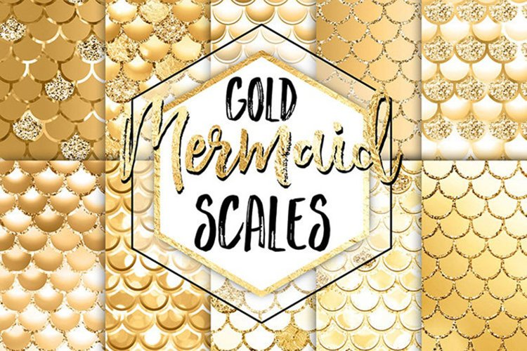 Mermaid Digital Paper - Gold Mermaid Scales