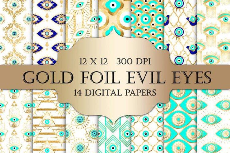 Gold Foil Evil Eye Digital Papers