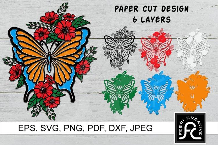3D Layered Butterfly SVG, Papercut Butterfly Flowers SVG
