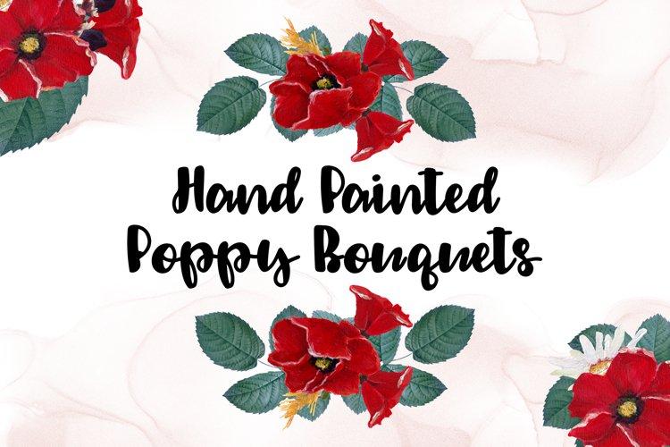 Watercolor Poppy Clipart Bouquets