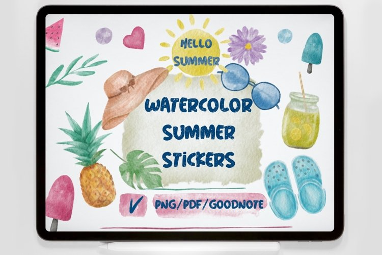 Watercolor Summer Stickers Cliparts.